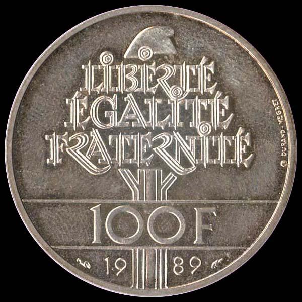 piece de monnaie 100 francs 1989