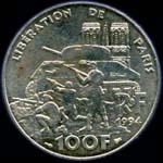 100 francs 1994 Lib�ration de Paris revers