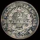 2 francs Napol�on Empereur calendrier r�volutionnaire revers