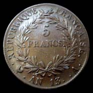 5 francs Napol�on Empereur calendrier r�volutionnaire revers