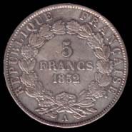 5 francs Deuxi�me R�publique Louis-Napol�on revers